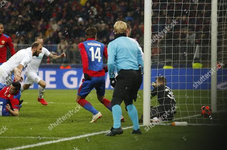 Goalkeeper of CSKA Moscow Igor Akinfeev (R) concedes a goal during the UEFA Champions League Group G soccer match between CSKA Moscow and FC Viktoria Plzen at Luzhniki Stadium in Moscow, Russia, 27 November 2018.