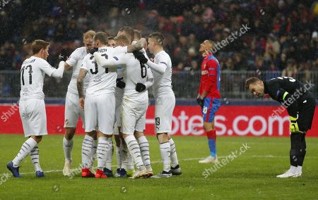Players of FC Viktoria Plzen celebrate after scoring by Lukas Hejda as Goalkeeper of CSKA Moscow Igor Akinfeev (R) reacts during the UEFA Champions League Group G soccer match between CSKA Moscow and FC Viktoria Plzen at Luzhniki Stadium in Moscow, Russia, 27 November 2018
