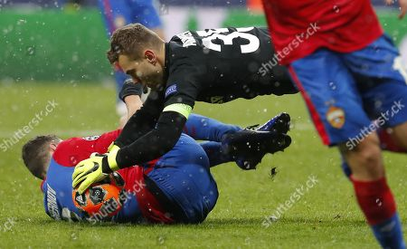 Stock Photo of Goalkeeper of CSKA Moscow Igor Akinfeev (C) in action during the UEFA Champions League Group G soccer match between CSKA Moscow and FC Viktoria Plzen at Luzhniki Stadium in Moscow, Russia, 27 November 2018