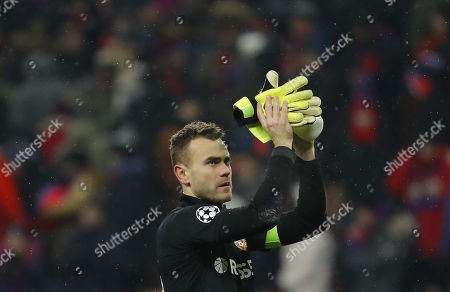 Stock Image of Goalkeeper of CSKA Moscow Igor Akinfeev reacts after the UEFA Champions League Group G soccer match between CSKA Moscow and FC Viktoria Plzen at Luzhniki Stadium in Moscow, Russia, 27 November 2018.