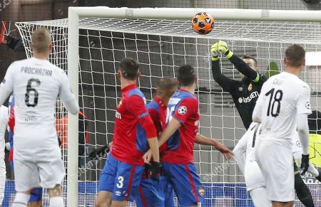 Goalkeeper of CSKA Moscow Igor Akinfeev (2-R) in action during the UEFA Champions League Group G soccer match between CSKA Moscow and FC Viktoria Plzen at Luzhniki Stadium in Moscow, Russia, 27 November 2018.