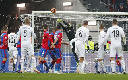 Goalkeeper of CSKA Moscow Igor Akinfeev (C) in action during the UEFA Champions League Group G soccer match between CSKA Moscow and FC Viktoria Plzen at Luzhniki Stadium in Moscow, Russia, 27 November 2018.