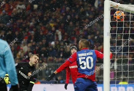 Goalkeeper of CSKA Moscow, Igor Akinfeev (L) , concedes a goal during the UEFA Champions League Group G soccer match between CSKA Moscow and FC Viktoria Plzen at Luzhniki Stadium in Moscow, Russia, 27 November 2018.