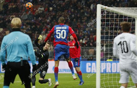 Goalkeeper of CSKA Moscow, Igor Akinfeev (2-L) , concedes a goal during the UEFA Champions League Group G soccer match between CSKA Moscow and FC Viktoria Plzen at Luzhniki Stadium in Moscow, Russia, 27 November 2018.