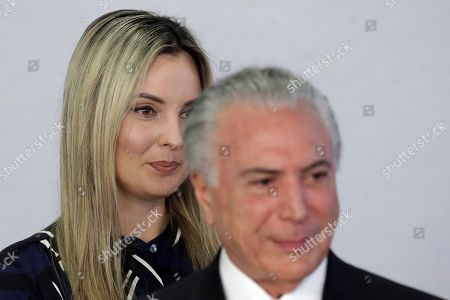 Michel Temer, Marcela Temer. Brazil's first lady Marcela Temer and her husband President Michel Temer, attend a ceremony to launch the National Plan to Combat Domestic Violence against Women, at the Planalto Presidential Palace, in Brasilia, Brazil