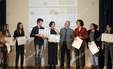 French chemistry researcher and 2016 Chemistry Nobel laureate Jean-Pierre Sauvage (4-R) poses with the students that were awarded the 'Stephen Hawking-Rosalia Abanca' award at the Rosalia de Castro Institute in Santiago de Compostela, Galicia, northern Spain, 27 November 2018.