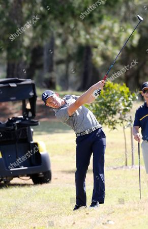 Stock Picture of Former professional motorcycle racer Casey Stoner in action during the Pro-Am of the Australian PGA Championships at the Royal Pines Resort on the Gold Coast, Australia, 28 November 2018.