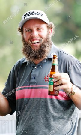 Andrew Johnston enjoys a beer during a media call at the Pro-Am of the Australian PGA Championships at the Royal Pines Resort on the Gold Coast, Australia, 28 November 2018. (