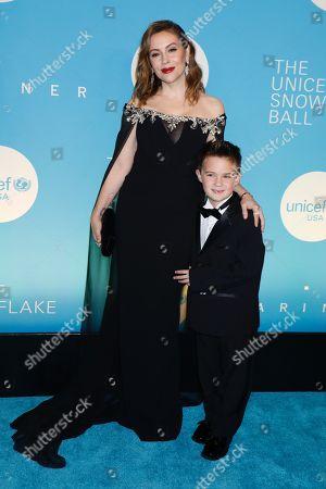 Stock Photo of Alyssa Milano and son Milo Thomas