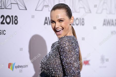 Ksenija Lukich arrives at the 32nd Australian Recording Industry Association (ARIA) Music Awards at The Star in Sydney, Australia, 28 November 2018.