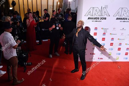 Stock Photo of Timomatic arrives at the 32nd Australian Recording Industry Association (ARIA) Music Awards at The Star in Sydney, Australia, 28 November 2018.