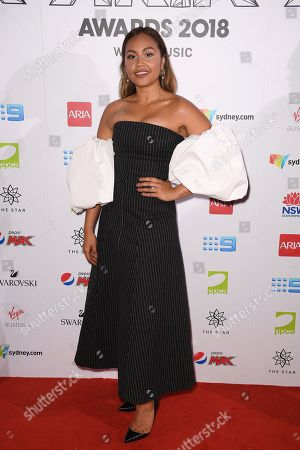 Jessica Mauboy arrives at the 32nd Australian Recording Industry Association (ARIA) Music Awards at The Star in Sydney, Australia, 28 November 2018.