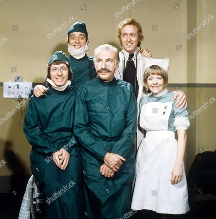 'Doctor in Charge'   TV Back Row: Robin Nedwell and Geoffrey Davies Front Row: George Layton, Ernest Clark and Sammie Winmill