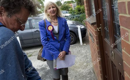 Marta Andreasen of UKIP campaigning for the Local elections