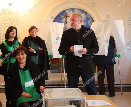 Stock Picture of Georgian President Giorgi Margvelashvili casts his ballots at a polling station during the second tour of the presidential elections, in Tbilisi, Georgia, 28 November 2018. Georgia holds the second round of the presidential election on 28 November. Grigol Vashadze, candidate for Georgia's main opposition, the United National Movement (UNM), and Salome Zurabishvili, former Georgian foreign minister, go into the run-off contest after emerging as the most popular candidates in the first round of voting last month.